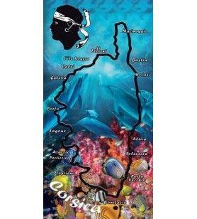 handdoek dolfijn kaart van Corsica  - 1