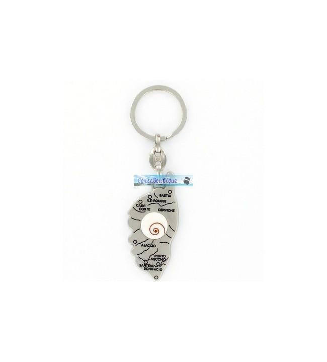 Porte clés carte corse Oeil de St Lucie