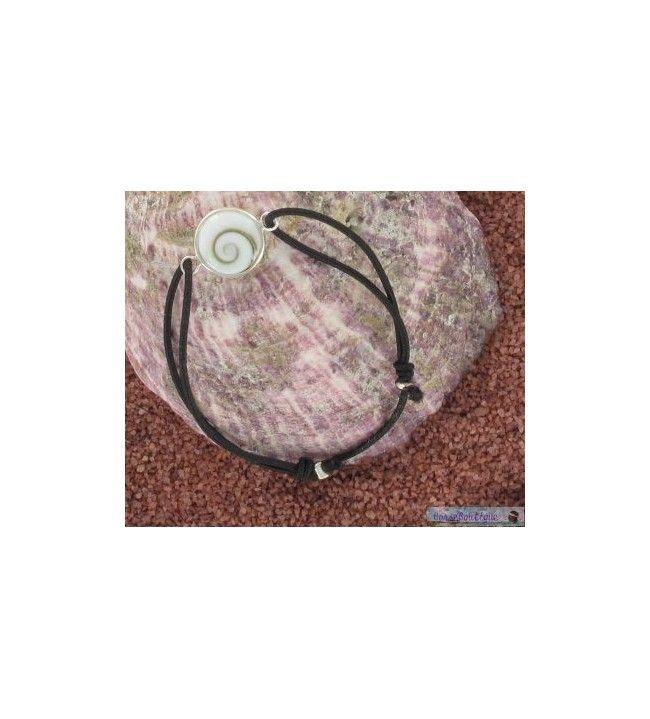 bracelet cordon élastique et oeil de sainte lucie serti argent