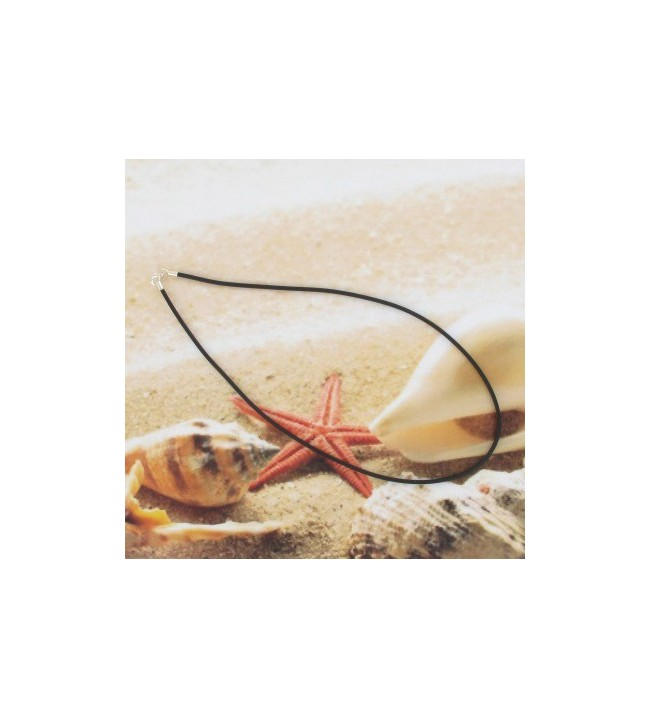 Cordon caoutchouc noir 45cm