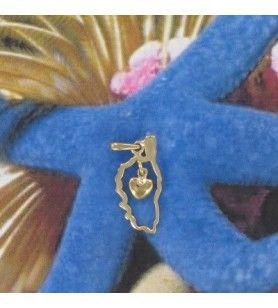 Korsika Kartenanhänger mit vergoldetem Herz  - Korsika Kartenanhänger mit vergoldetem Herz