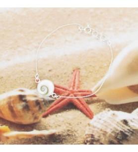 Bracelet chaine argent et oeil de sainte Lucie rond