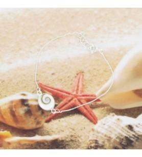 Bracelet chaine argent et oeil de sainte Lucie ovale