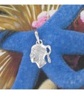 Pendant head of a moor Silver Rhodium-plated
