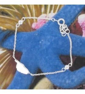 Bracelet chaine carte Corse Argent Rhodié