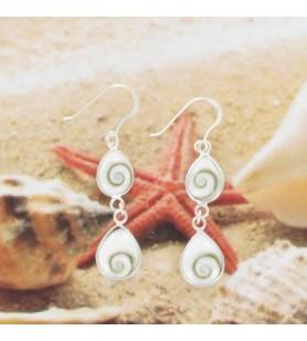 Boucles d'oreilles pendantes 2 gouttes argent et oeil de Sainte Lucie