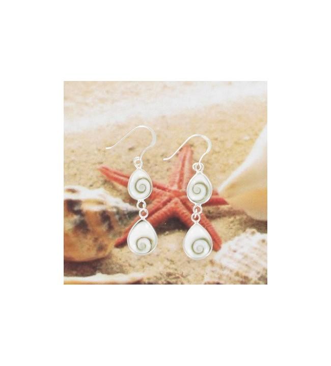 Boucles d'oreilles oeil de St Lucie argent 6241