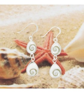 Pair of earrings 2 drops silver and eye of Holy Lucie