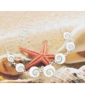 Silberne Kette Halskette und 7 Augen von Saint Lucia Runde