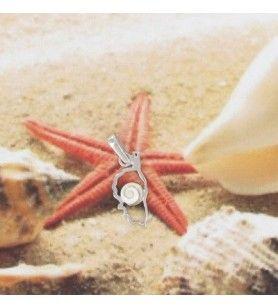 Anhänger, karte, Korsika, Silber Rhodiniert und auge des Heiligen lucie