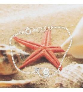 Bracelet chaine argent avec carte Corse et oeil de Sainte Lucie