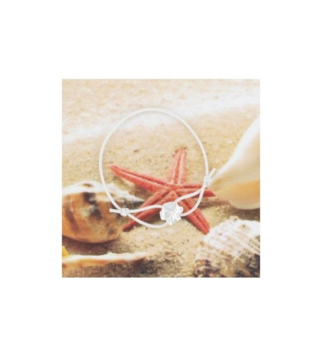 Bracelet cordon élastique et Tête de Maure argent 33D