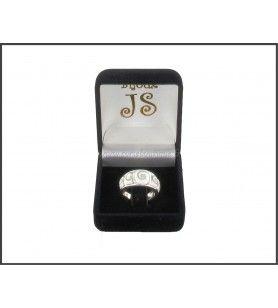 Brede ring in zilver met 5 ogen van Saint Lucia  - 1