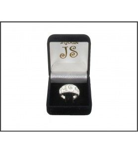 Wide ring in silver with 5 eyes of Saint Lucia