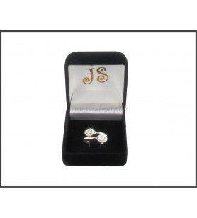 Ring zilver verstelbaar 2 oog van de Heilige Lucie ovaal