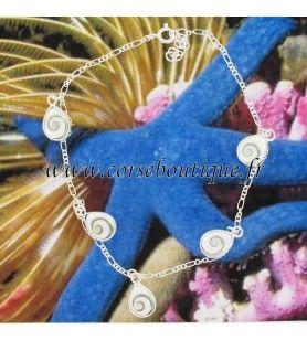Kette knöchel-Silber-und 5 augen von Santa Lucia form tropfen