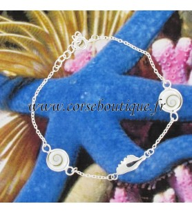 Bracelet chain Map of Corsica in silver, and 2 eyes of Saint Lucia