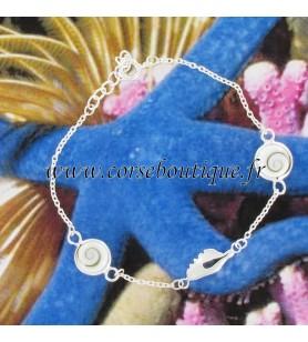 Armband ketting Kaart van Corsica, in zilver, en 2 ogen van Saint Lucia