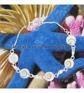 Chain Armband zilver en 5 kleine ogen van St. Lucia ronde