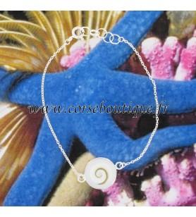 Armband fijne ketting zilver Oog van santa Lucia en ronde witte parelmoer