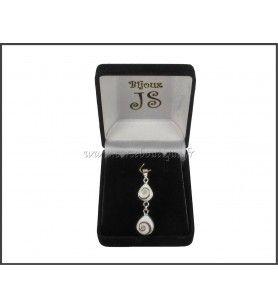 Colgante de plata de doble Ojo de Santa Lucía, 7419E + caja de regalo