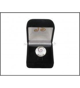 Ring verstelbaar rond, in het Oog van Saint Lucia contour zilver