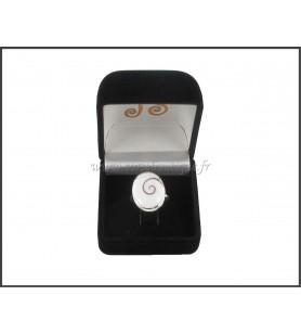 Anello regolabile ovale Occhio di santa Lucia, contorno argento