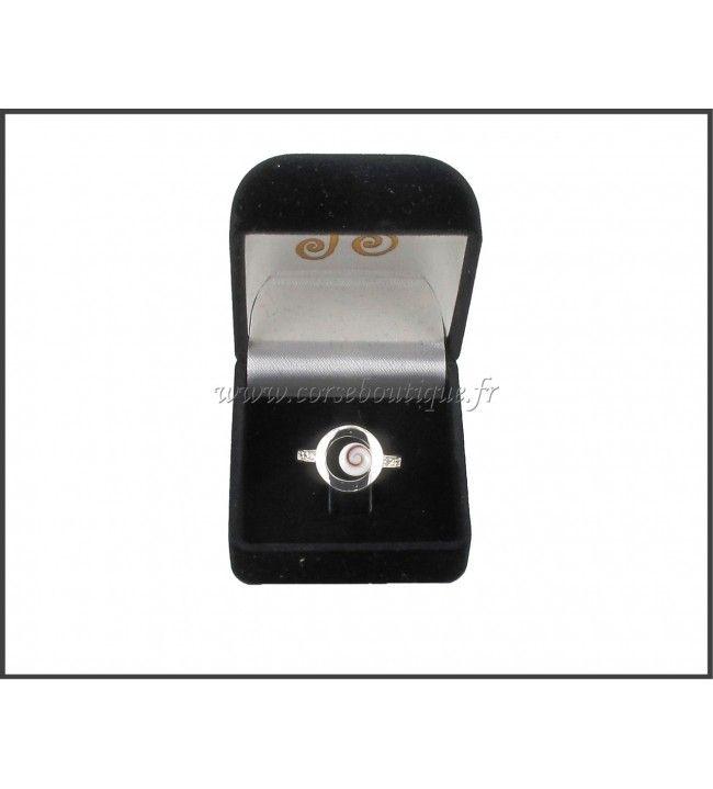 Ring Silber kreis und Auge des Heiligen Lucie 8139E + Ecrin