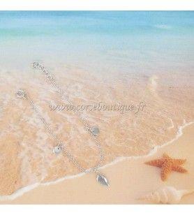 Bracelet carte Corse et breloques en Argent Rhodié