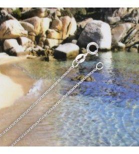 Chaine en argent 925° Rhodié maille forçat  - Chaine en argent 925° Rhodié maille forçat