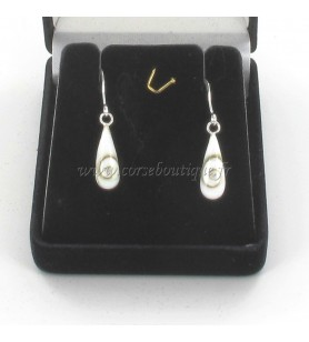 Earrings silver drops eye of holy lucie
