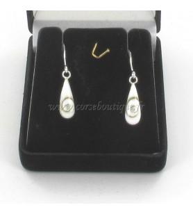 Earrings silver drops eye of holy lucie