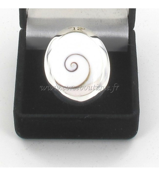 Ring silber oval Auge von Sainte Lucie Großes Modell 6110E + Ecrin