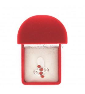 Anillo en forma de lágrima 4 Coral Rojo