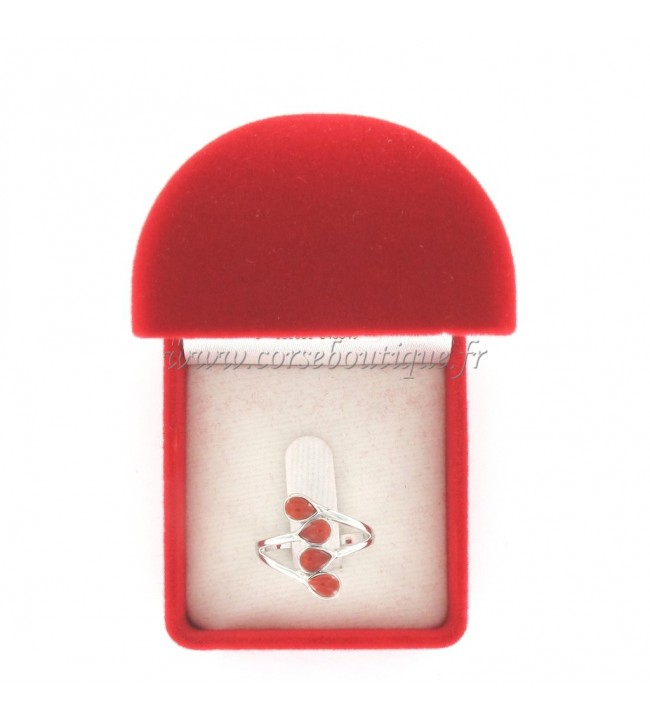 Bague forme larme 4 Corail Rouge