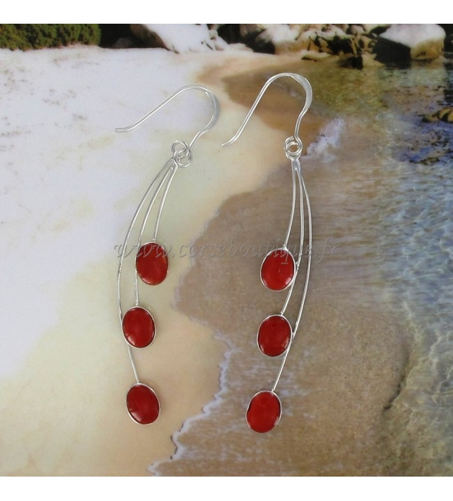 Boucles d'oreille 3 tiges en Corail Rouge