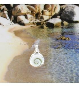 Pendentif rond bord en argent et oeil de Sainte Lucie