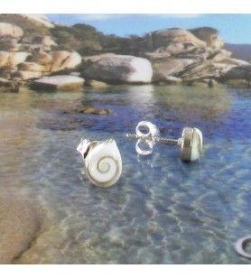 Boucles d'oreilles Clous forme gouttes Oeil de Sainte Lucie  - Boucles d'oreilles Clous forme gouttes Œil de Sainte Lucie et Arg