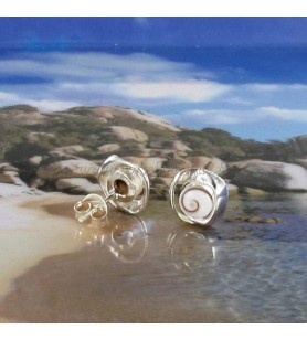 Studs earrings Eye of Holy Lucie and wide rim silver twisted