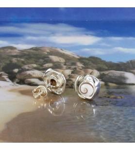 Boucles d'oreilles Clous Oeil de Sainte Lucie et large rebord argent torsadé