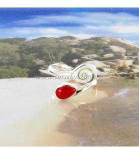 Bague argent double gouttes Oeil de Sainte Lucie et résine rouge