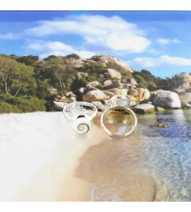 Bague ronde rebord en argent et Oeil de Sainte Lucie