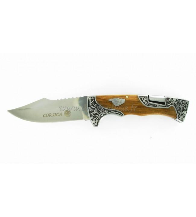 Couteau corse Bois d'olivier 23 cm lame 440 finition orfèvre 5118