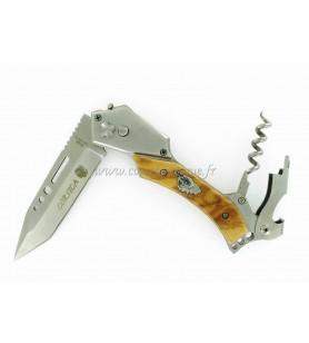 Couteau corse automatique en bois d'olivier 23 cm finition orfèvre avec tire bouchon