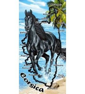 Bath towel black horse