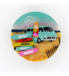 Magnet Rond céramique Surf 7.5 cm