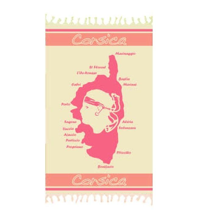 Foutas tissée Corsica Carte Corse