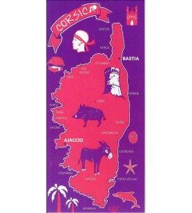 Serviette de Plage Microfibre carte Corse fond rose