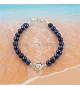 Bracelet en perles et un oeil de Sainte Lucie serti argent R8319