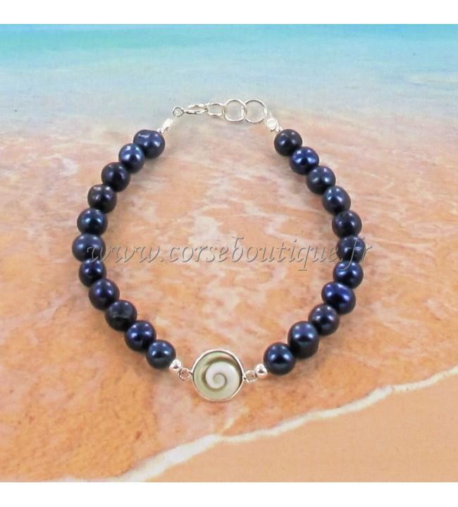 Bracelet en argent Œil de Sainte Lucie et perles 8319